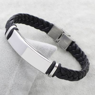Bracelet cuir noir albert