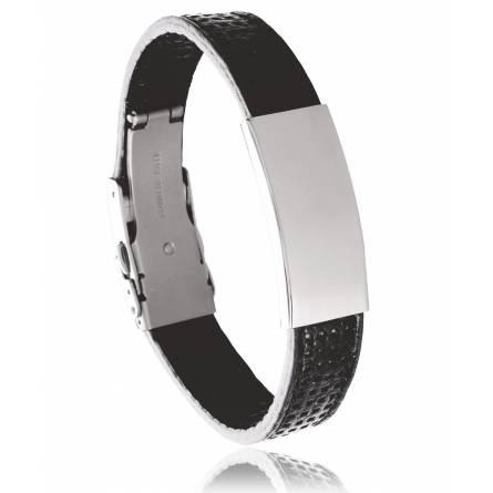 Bracelet cuir noir Basco