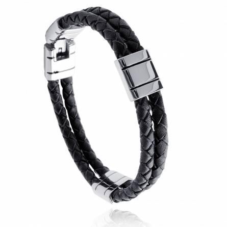 Bracelet cuir noir et acier Thelos