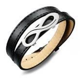 Bracelet cuir noir Infini Once