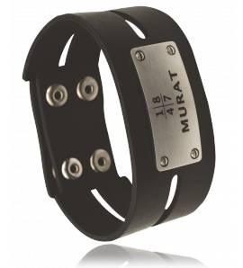 Bracelet cuir noir Laquearius