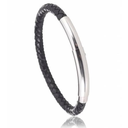 Bracelet cuir noir Prato