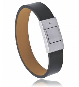 Bracelet cuir noir Revolution