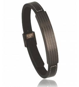 Bracelet cuir noir Saturn