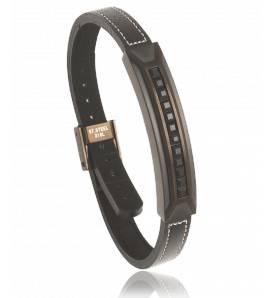 Bracelet cuir noir Zenit