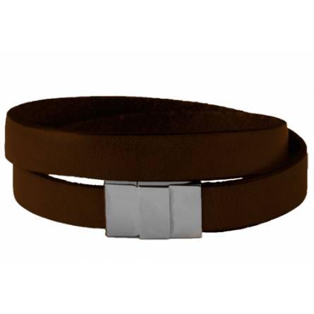 Bracelet cuir plat double marron Tanche