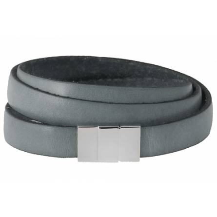 Bracelet cuir plat triple gris