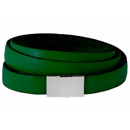 Bracelet cuir plat triple vert