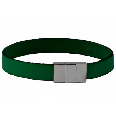 Bracelet cuir plat vert