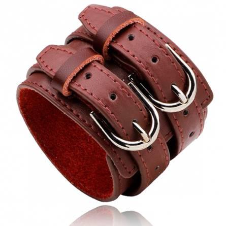 Bracelet de Force homme cuir Double  marron