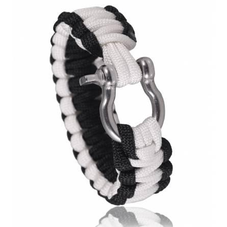 Bracelet de survie bicolore blanc et noir Chahine