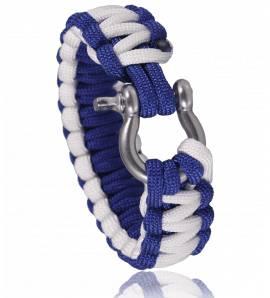 Bracelet de survie bicolore bleu blanc Chaï