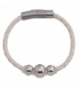 Bracelet en cuir tresse blanc Fanette