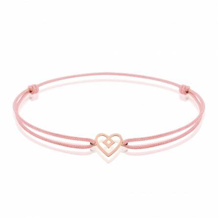 Bracelet enfant fils-cordon Anesa coeur rose