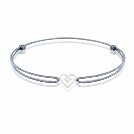 Bracelet enfant fils-cordon Ediasa coeur gris