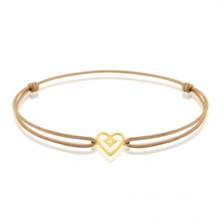 Bracelet enfant fils-cordon Nesa coeur marron