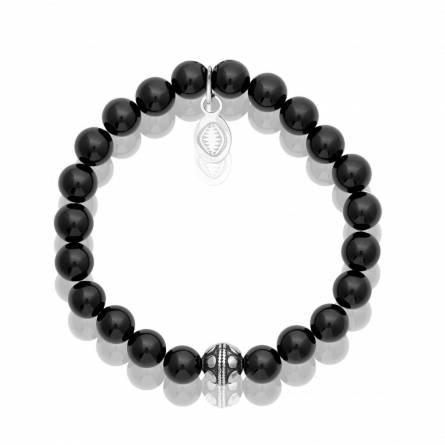 Bracelet femme acier Agate noir