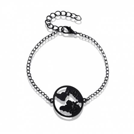 Bracelet femme acier Carte du monde 2 ronde noir