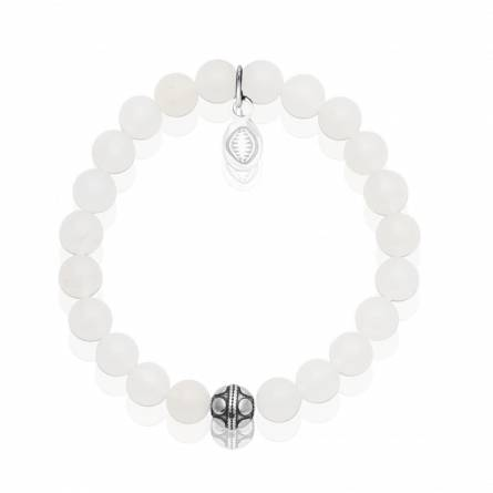 Bracelet femme acier Pierre de Jade blanc