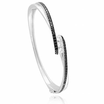 Bracelet femme argent Elas noir