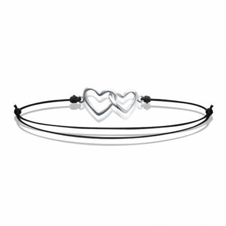 Bracelet femme fils-cordon Double coeur noir