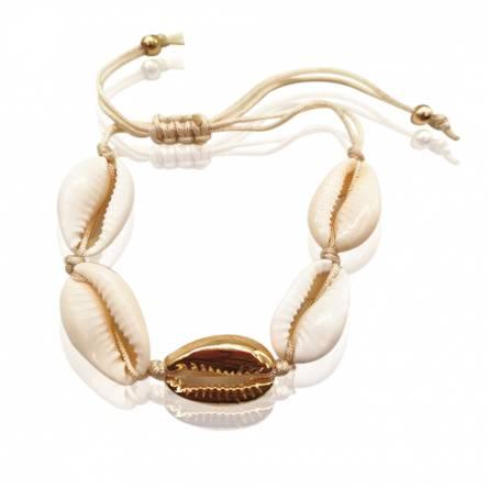 Bracelet femme fils-cordon Seashell gold