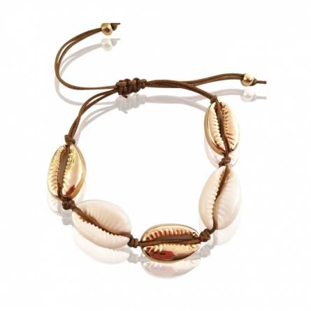 Bracelet femme fils-cordon Seashell mixt marron