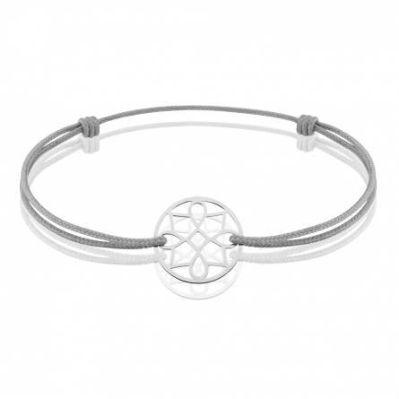 Bracelet femme fils-cordon Volia ronde gris