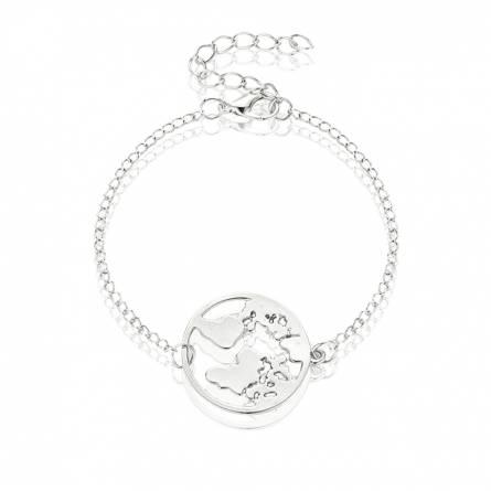 Bracelet femme métal argenté Carte du monde 3 ronde