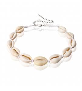 Bracelet femme métal argenté Shell blanc