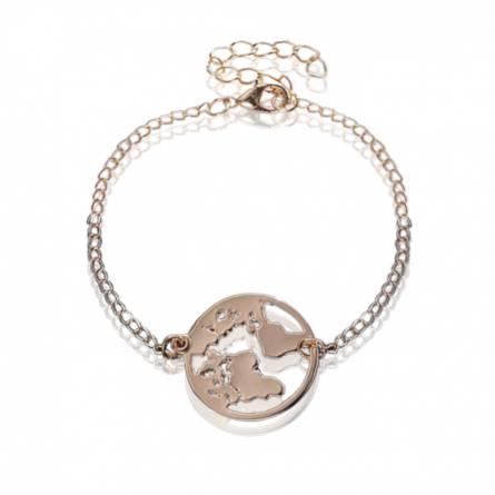 Bracelet femme métal doré Carte du monde 1 ronde