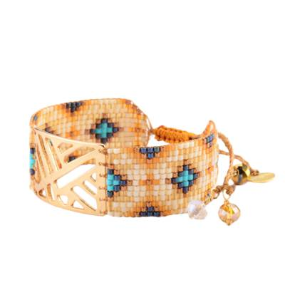 Bracelet femme perle Arlequin blanc