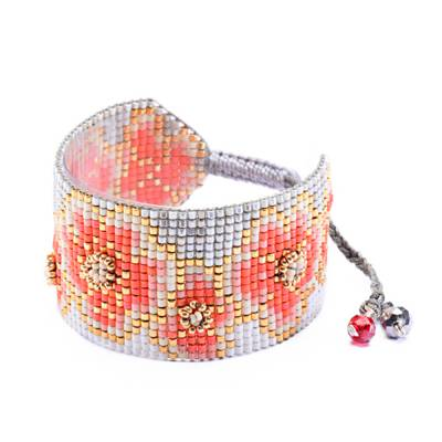 Bracelet femme perle Aster rose