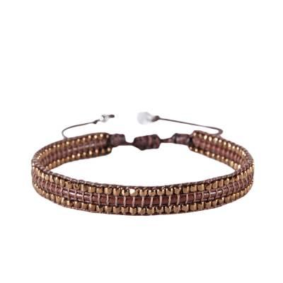 Bracelet femme perle Bambu marron