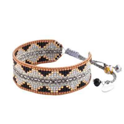 Bracelet femme perle Collage gris