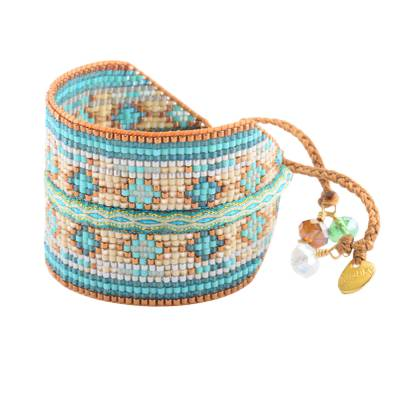 Bracelet femme perle Collage turquoise