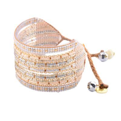 Bracelet femme perle Cristal gris