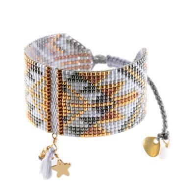 Bracelet femme perle gris