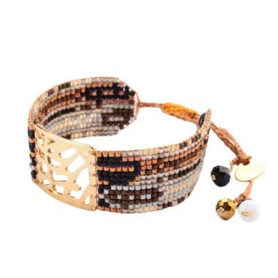 Bracelet femme perle Leaves marron