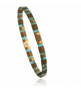 Bracelet femme perle Mitaya 19 marron