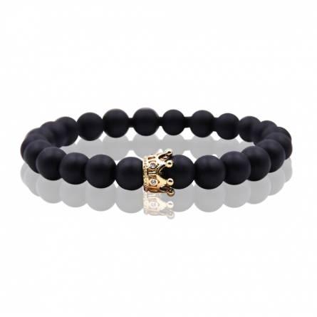 Bracelet femme perle Queen 3 noir