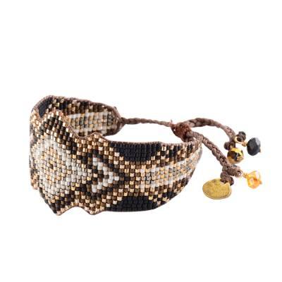 Bracelet femme perle Rocky marron