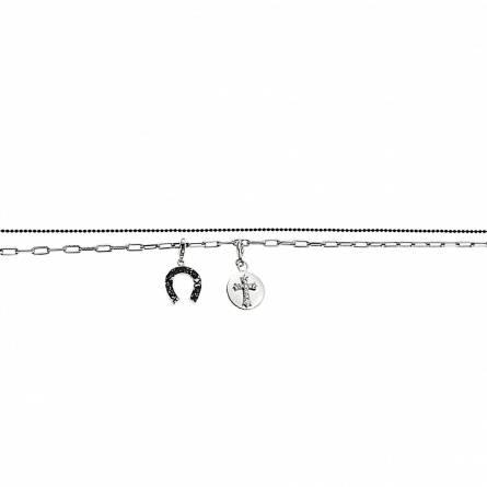 Bracelet fer à cheval et médaillon croix en métal rhodié