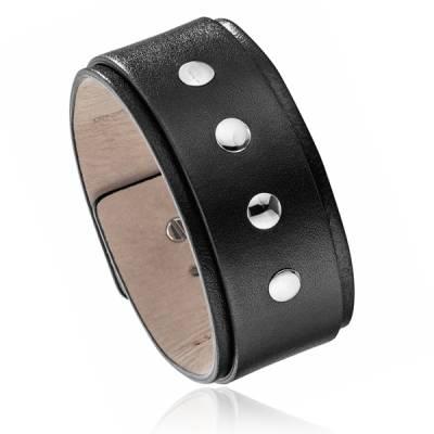 Bracelet Force Police acier cuir noir Proton