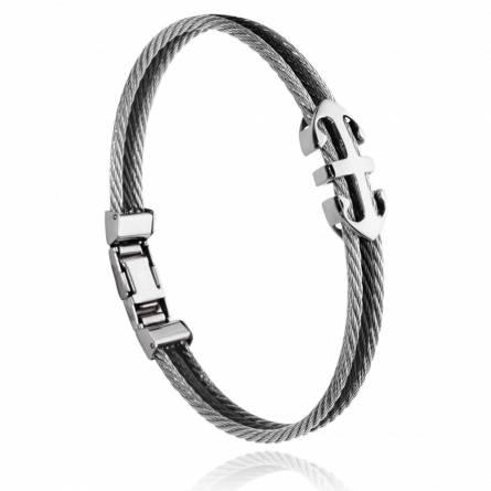 Bracelet homme acier Corin gris