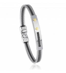 Bracelet homme acier et vis en or jaune