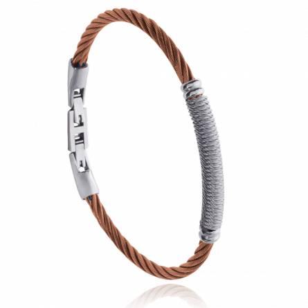 Bracelet homme acier Isilyn marron
