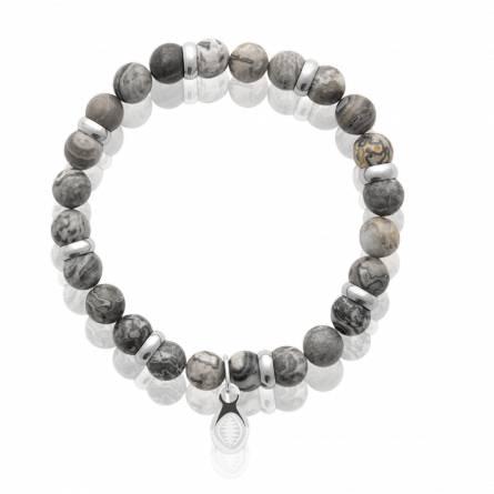 Bracelet homme acier Jaspe gris