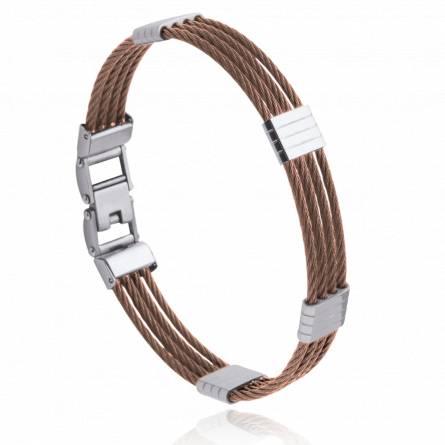 Bracelet homme acier marron