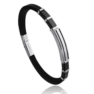Bracelet homme acier Nolan noir